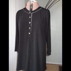 Kohl's Dana Buchman Size XL Black Tunic Blouse Top